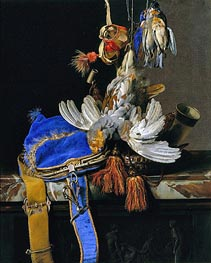 A Still Life of Game and a Blue Velvet Game Bag on a Marble Ledge, c.1665 by Willem van Aelst | Painting Reproduction