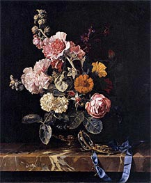 Vase with Flowers and Pocket Watch, 1656 by Willem van Aelst | Painting Reproduction