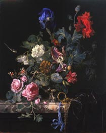 Flowers in a Silver Vase, 1663 by Willem van Aelst | Painting Reproduction