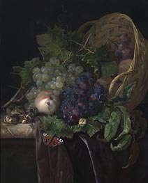 Peaches, Chestnuts and Grapes in an Overturned Basket Resting on a Partially Draped Marble Ledge, 1677 by Willem van Aelst | Painting Reproduction