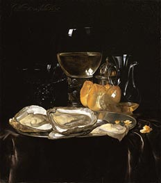 Still Life with a Roemer and Dish of Oysters, 1675 by Willem van Aelst | Painting Reproduction