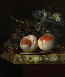 A Still Life with Two Peaches and Bunch of Grapes on a Silver Plate set on a Marble Slab, 1664 by Willem van Aelst | Painting Reproduction