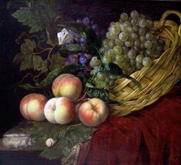 Still Life with Peaches and Grapes | Willem van Aelst | Painting Reproduction