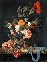 Vase of Flowers with Pocket Watch, 1663 by Willem van Aelst | Painting Reproduction