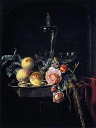 Roses and Peaches, 1659 by Willem van Aelst | Painting Reproduction
