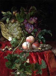 Still Life with Grapes and Peaches, undated by Willem van Aelst | Painting Reproduction
