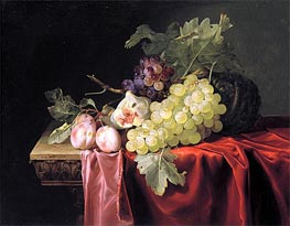 Still Life with Grapes, Plums, Figs and a Melon on a Partly Draped Stone Ledge, 1653 by Willem van Aelst | Painting Reproduction