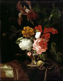 Flowers in a Silver Vase with a Snail and a Butterfly | Willem van Aelst | Painting Reproduction