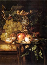 Still Life of Fruits, 1681 by Willem van Aelst | Painting Reproduction