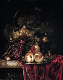 A Still Life of Peaches on a Pewter Plate, undated by Willem van Aelst | Painting Reproduction