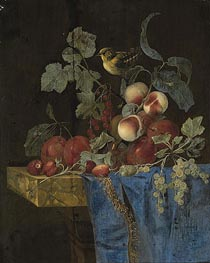 Still Life with Fruits and a Finch, undated by Willem van Aelst | Painting Reproduction