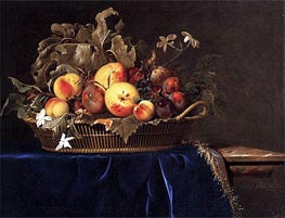Still Life with a Basket of Fruit on a Marble Ledge | Willem van Aelst | Painting Reproduction