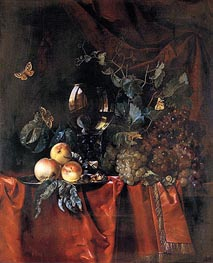 Fruit and a Glass of Wine, 1659 by Willem van Aelst | Painting Reproduction