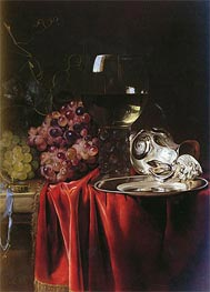 A Still Life of Grapes, a Roemer, a Silver Ewer and a Plate, 1659 by Willem van Aelst | Painting Reproduction