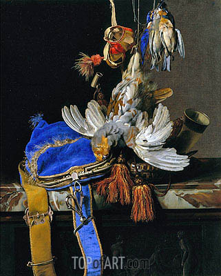 A Still Life of Game and a Blue Velvet Game Bag on a Marble Ledge, c.1665 | Willem van Aelst | Painting Reproduction