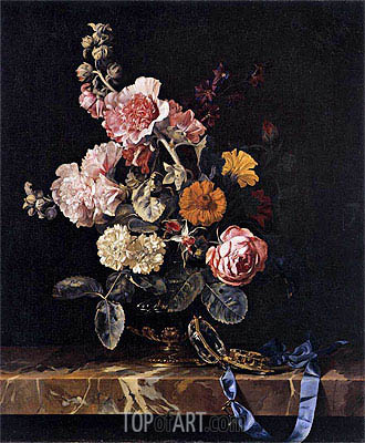 Vase with Flowers and Pocket Watch, 1656 | Willem van Aelst | Painting Reproduction