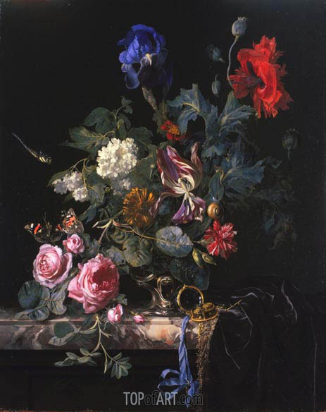 Flowers in a Silver Vase, 1663 | Willem van Aelst | Gemälde Reproduktion