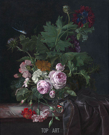 Peonies, Carnations, Thistles and other Flowers in a Glass Vase on a Partially Draped Table, 1677 | Willem van Aelst | Painting Reproduction