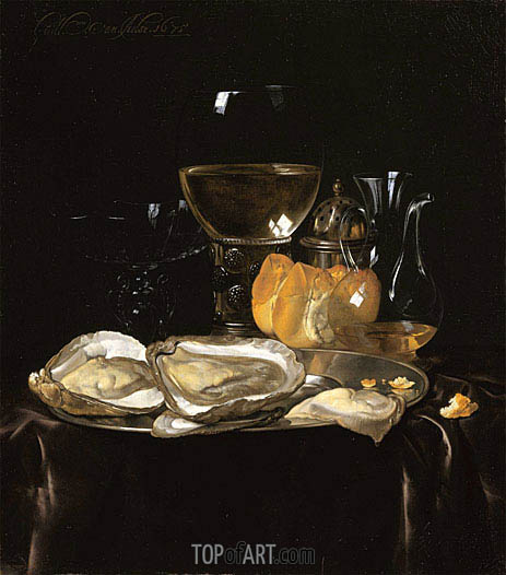 Still Life with a Roemer and Dish of Oysters, 1675 | Willem van Aelst | Painting Reproduction