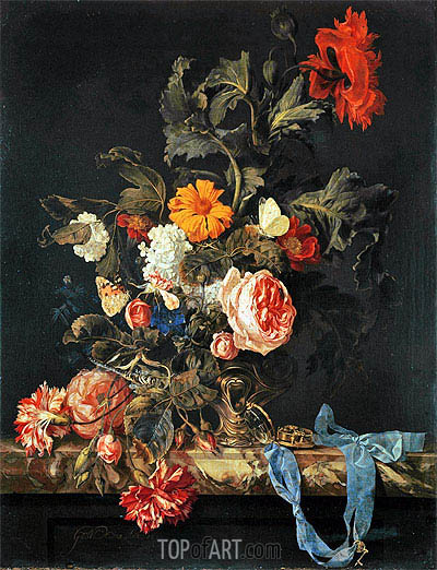 Vase of Flowers with Pocket Watch, 1663 | Willem van Aelst | Painting Reproduction