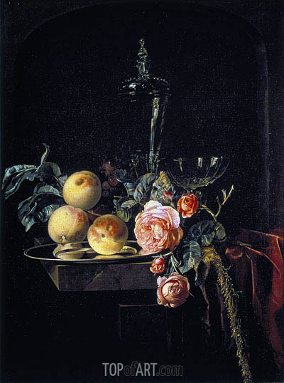 Roses and Peaches, 1659 | Willem van Aelst | Painting Reproduction