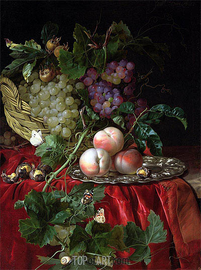 Still Life with Grapes and Peaches, undated | Willem van Aelst | Gemälde Reproduktion