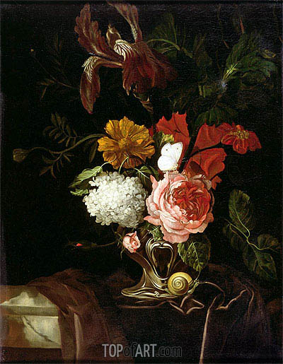 Flowers in a Silver Vase with a Snail and a Butterfly, undated | Willem van Aelst | Gemälde Reproduktion
