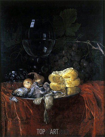 Still Life with Herring, undated | Willem van Aelst | Painting Reproduction