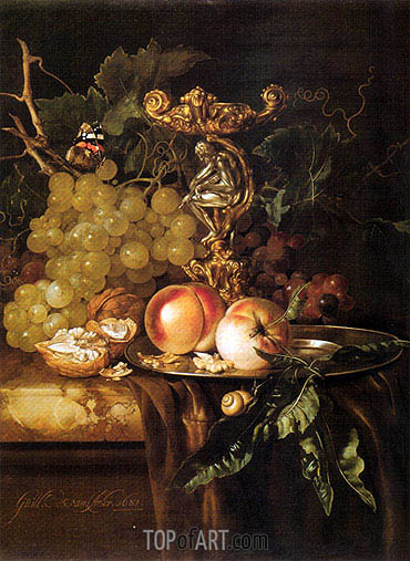Still Life of Fruits, 1681 | Willem van Aelst | Gemälde Reproduktion