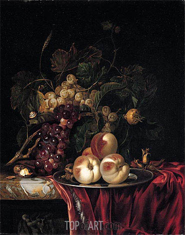 A Still Life of Peaches on a Pewter Plate, undated | Willem van Aelst | Gemälde Reproduktion