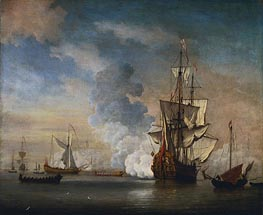 English Warship Firing a Salute, 1690 von Willem van de Velde | Gemälde-Reproduktion