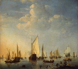 Ships in a Calm Sea | Willem van de Velde | Painting Reproduction