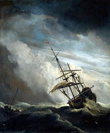 A Ship in High Seas Caught by a Squall, known as 'The Gust' | Willem van de Velde | Painting Reproduction