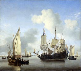 Ships under the Coast for Anchor | Willem van de Velde | Gemälde Reproduktion