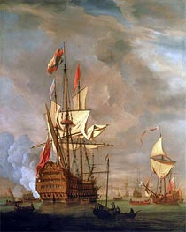 The English Ship 'Royal Sovereign' With a Royal Yacht in a Light Air, 1703 von Willem van de Velde | Gemälde-Reproduktion