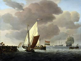 Ships at the Coast in Robust Breeze | Willem van de Velde | Gemälde Reproduktion