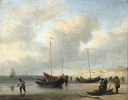 Fishermen's Boats at the Beach | Willem van de Velde | Painting Reproduction