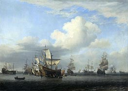 The conquerors take on board 'Swiftsure', 'Seven Oaks', 'Loyal George' and 'Convertine', 11-14 June 1666 | Willem van de Velde | Painting Reproduction