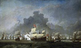 The Fight of Michiel Adriaensz the Ruyter against the duke of York on the 'Royal Prince', 7 June 1672 | Willem van de Velde | Painting Reproduction