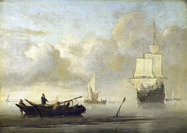 Ships at the Coast, Calm Sea | Willem van de Velde | Painting Reproduction