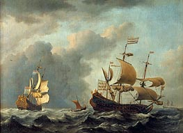 The 'Gouden Leeuw' at Sea in Heavy Weather | Willem van de Velde | Gemälde Reproduktion