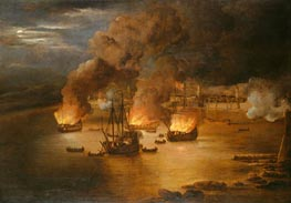 The Attack on Shipping in Tripoli, 24 January 1676 | Willem van de Velde | Painting Reproduction