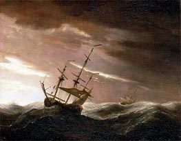 An English Ship at Sea Lying-To in a Gale | Willem van de Velde | Gemälde Reproduktion