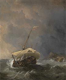 An English Ship in a Gale Trying to Claw off a Lee Shore, 1672 by Willem van de Velde | Painting Reproduction