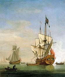 An English Sixth-Rate Ship Firing a Salute As a Barge Leaves, A Royal Yacht Nearby, 1706 by Willem van de Velde | Painting Reproduction