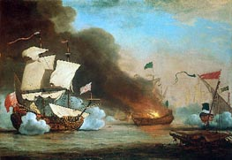 An English Ship in Action with Barbary Corsairs | Willem van de Velde | Gemälde Reproduktion