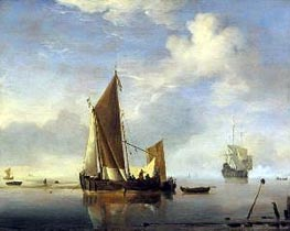 Calm: a Fishing Boat at Anchor | Willem van de Velde | Gemälde Reproduktion