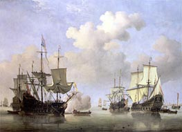 Calm: Dutch Ships Coming to Anchor, c.1665 by Willem van de Velde | Painting Reproduction