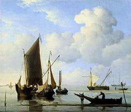 Calm: Fishing Boats at Low Water, c.1660 by Willem van de Velde | Painting Reproduction