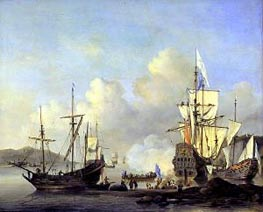 Calm: French Merchant Ships at Anchor, c.1670 by Willem van de Velde | Painting Reproduction